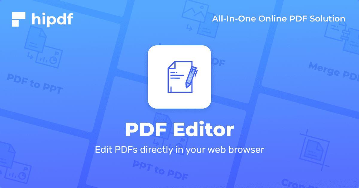 Online PDF Editor - Edit PDF files online for free - Hipdf